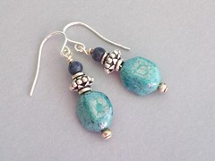 Southwest Earrings (sweetanniesjewelry) Tags: earrings artglass sodalite sterlingsilver
