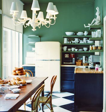 Dark kitchen cabinets + green paint + checkerboard floor: Drew Barrymore's office, from Domino