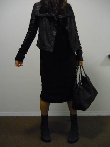 rick owens leather jacket outfit