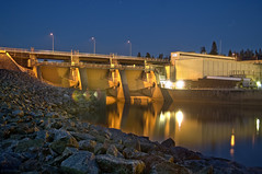 Boden hydropower plant at night