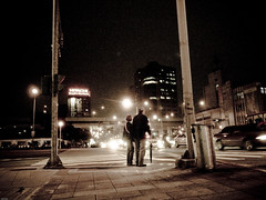 be with you. (YENTHEN) Tags: road street city night waiting couple cross candid taiwan taipei ricoh grd backsight yenthen 00194642