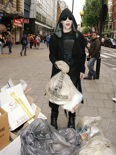 Marilyn Manson with Trash Bag in London