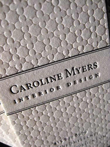 Textured Letterpress Business Cards - Interior Design Closeup