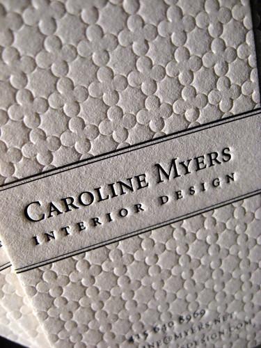 Textured Letterpress Business Cards - Interior Design Closeup