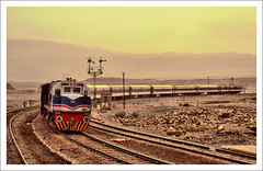 Aab-e-Gum. (Commoner28th) Tags: railroad pakistan sky water station train landscape persian track traffic engine engineering rail railway hills transportation pr british locomotive signal ahmed mountian semaphore agha quetta waseem pakistanrailway sibi baluchistan pakistanrailways chiltan aabegum commoner28th