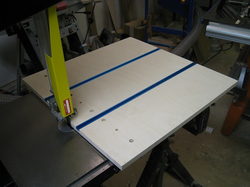resawing jig base with installed T-tracks