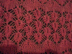 pink lace shawl detail