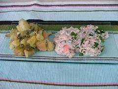 potatis sallad o lax i yoghurt- och gurksås