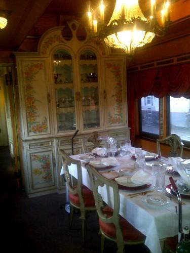 Private Rail Car Virginia City - dining table