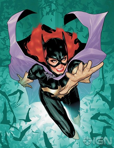 A comics illustration of Barbara Gordon as Batgirl, zooming up from a green background. Her signature red hair is visible, she has an expression of slyness and excitement. Significantly, she is in a Batgirl costume and NOT in a wheelchair.