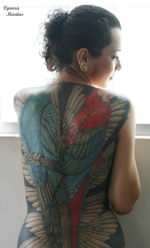 sexy girl back with tattoos angel