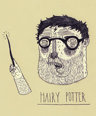 hairy potter (pearpicker.) Tags: hairy illustration pencil beard glasses drawing potter