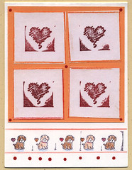Rubberstamp hearts card with puppies (.T in Indy) Tags: handmade greetingcard rubberstamping week3 handmadecard cardclass rubberstampcard