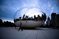 the bean at dusk (dicksoto) Tags: chicago millenniumpark cloudgate thebean anishkapoor