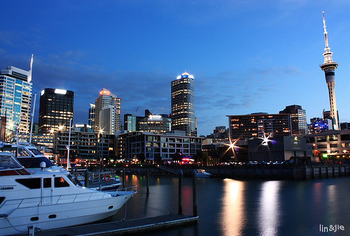 Auckland's waterfront at night