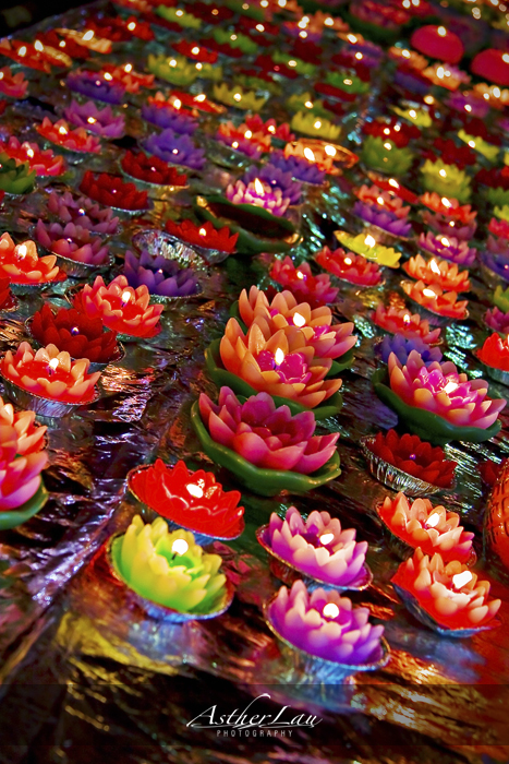 Colorful candles were used for prayer offerings.