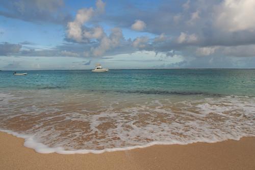 our view of Grand Case beach near sunrise