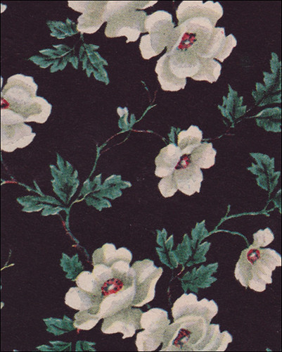 black and white floral wallpaper. 1949 Black Floral Wallpaper