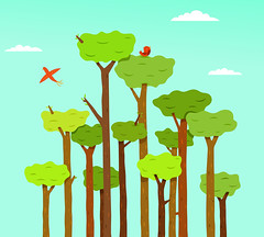 Tree Top Retreat (moonape) Tags: trees green art nature leaves birds illustration digital forest outdoors flying artwork artist branches cartoon parrot scene evergreen jungle tropical trunk illustrator canopy vector mathers emergents alexmathers moonape