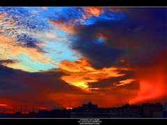 Crimson and Azure (Mythgarr) Tags: sunset clouds photography high dynamic dxo tamron range hdr balikpapan 18270 eos450d