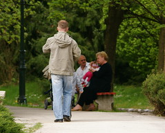 Walk in the park (Marc Neal) Tags: park family green bench walking spring jeans oldercouple