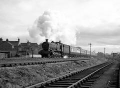 6936 BREECLES HALL leaving Salisbury withh the 0930 Portsmouth to Cardiff 25 Nov 1961 (pondhopper1) Tags: blackandwhite white black monochrome steam salisbury railways 460 uksteam hallclass