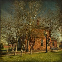 red house (jssteak) Tags: trees light sunset shadow red brick bench colorado afternoon 1800s denver hdr textured layered fauxvintage auraria squareformate memoriesbook mastersgallery texturedsquare 9thstreethistoricpark obramaestra