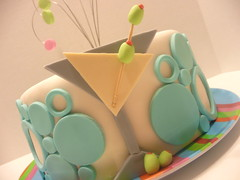 Mod Martini Cake (Lanie's Cakes) Tags: pink blue green cake modern mod circles martini olives fondant