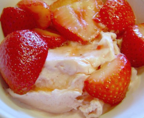 rhubarb ice cream w/strawberries by you.