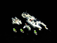 Division 2 of 6, Coalition task force 11-a. (Crimson Wolf) Tags: red white green lego space ships micro fleet