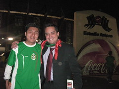 Edgar and Paco outside the stadium