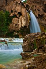 Havasupai Falls 2 (Manesero) Tags: arizona cliff water waterfall aqua grandcanyon falls havasu supai havasupai havasupaifalls timelaps havasupaicanyon afterflood2009