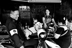 "family scene - Bangkok, city of angels (Sailing ""Footprints: Real to Reel"" (Ronn ashore)) Tags: street family people blackandwhite film dogs portraits faces canine hp5 leicamp thelittledoglaughed worldtrekker leicasummicron35mmf2iv bangkokcityofangels 20090019mphp5bkk"