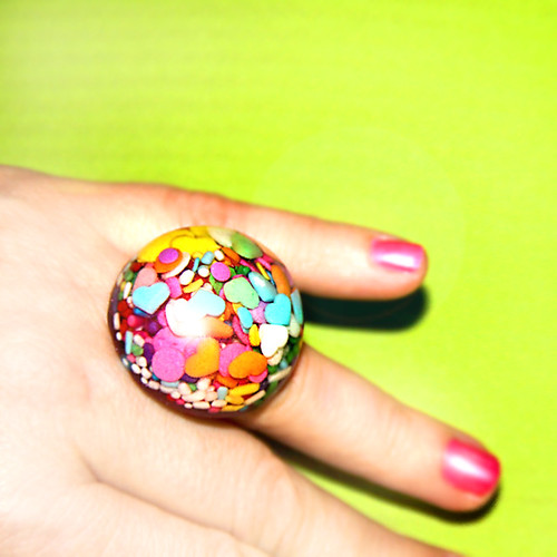 Japanese Harajuku Street Fashion Giant Candy Sprinkles Dome Ring by isewcute