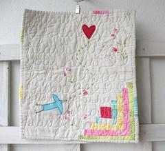 Follow your heart mini art quilt