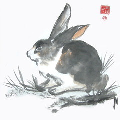 Rabbit (plasticpumpkin) Tags: pet cute rabbit bunny art animal watercolor painting rodent critter fineart chinesepainting brushpainting