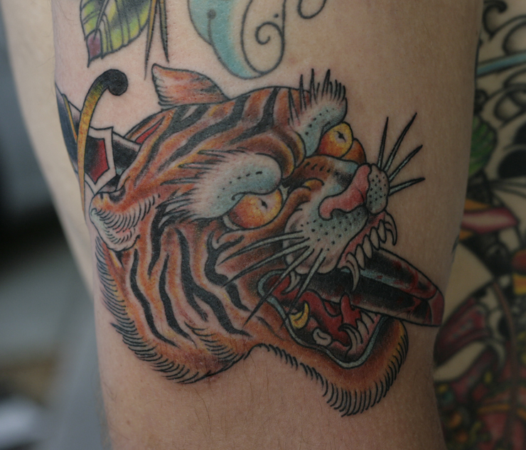 New Tiger Head Tattoo On Pete By Chuck Donoghue Only You Tattoo