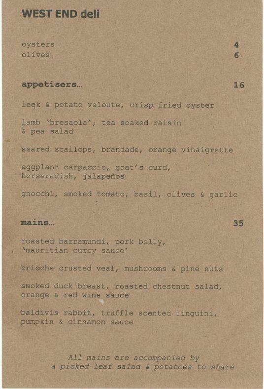 west end menu