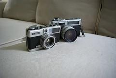Donor Cameras (odinisamu) Tags: gear yashicaelectro35 camerasurgery canondemi pentaxk10d justpentax olympusep1