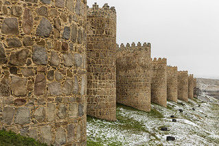Walls of Avila with snow