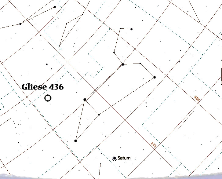 Gliese 436 - Not visible to the naked eye - from Stellarium