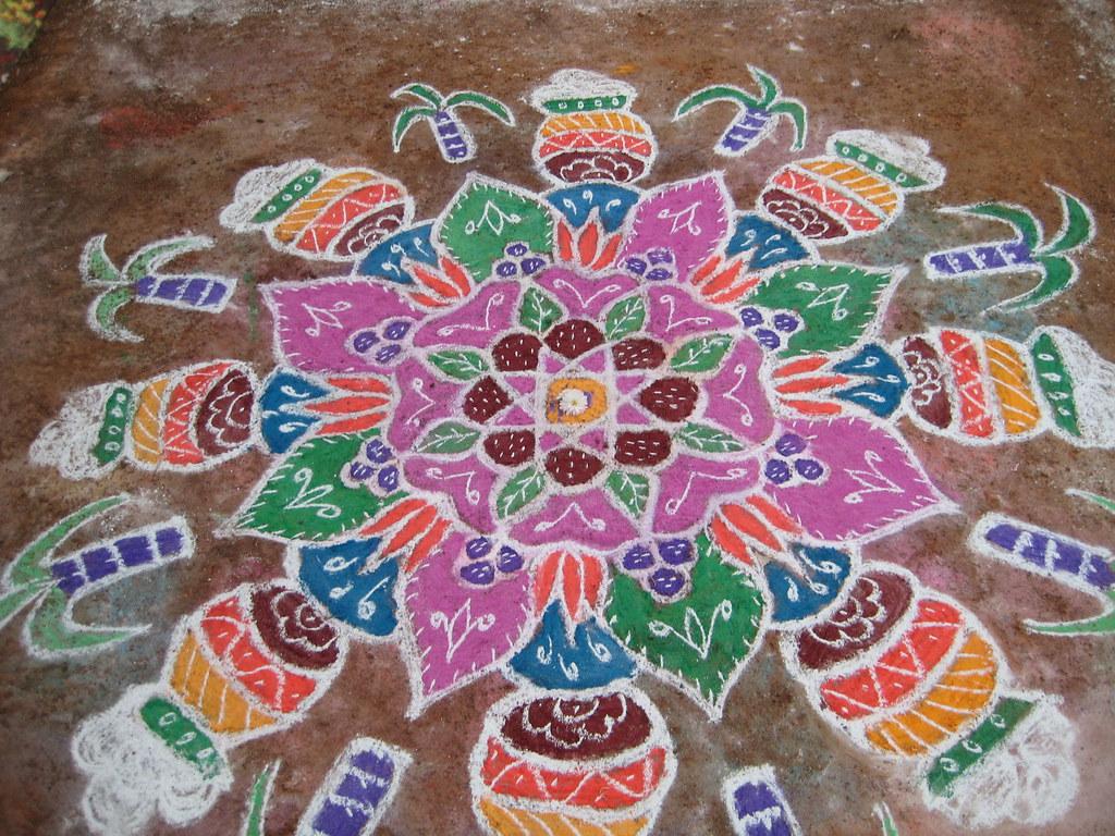 Iyer traditions: Pongal Rangoli/kolam