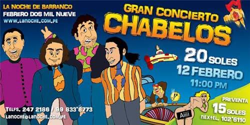 Afiche Concierto Chabelos La Noche de Barranco