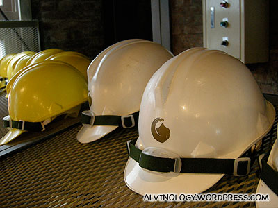 yellow helmets for kids; white for adults
