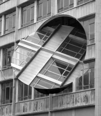 Turning the Place Over (Lydie's) Tags: uk windows england architecture buildings blackwhite publicart turning circular merseyside liverpool08
