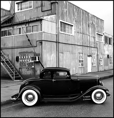 An Old Ford and An Old Warehouse (greenthumb_38) Tags: windows blackandwhite bw hot classic ford car stairs contrast 1932 blackwhite losangeles automobile highcontrast automotive warehouse hotrod rod duotone timeless corrugated whitewall huntingtonpark corrugatedmetal whitewalltires deucecoupe nickalexander corrugatedsiding woodycarshow alexanderwoodyshow woodiecarshow