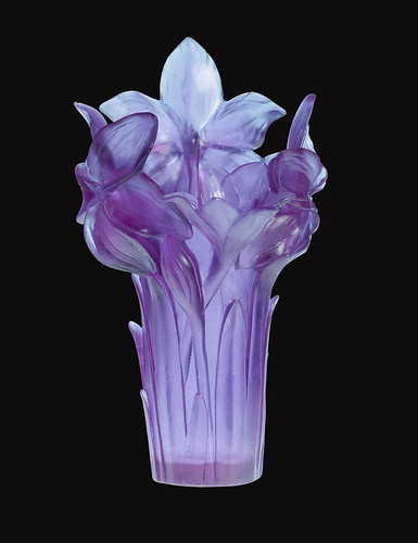 AMARYLLIS ULTRAVIOLET VASE, $5200. Daum, recreated its floral art collection