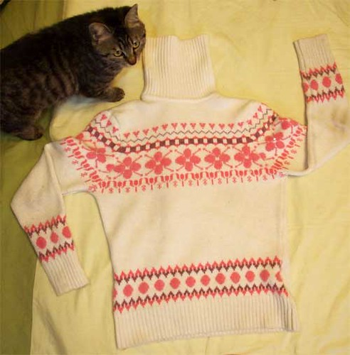 A typical sweater bought wholesale by Ben and sold on (with my kitten as an entirely accidental model)