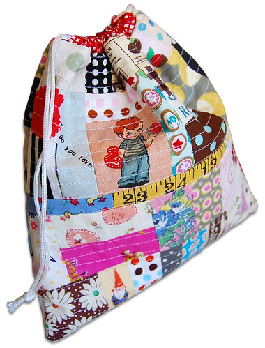 scrappy drawstring bag