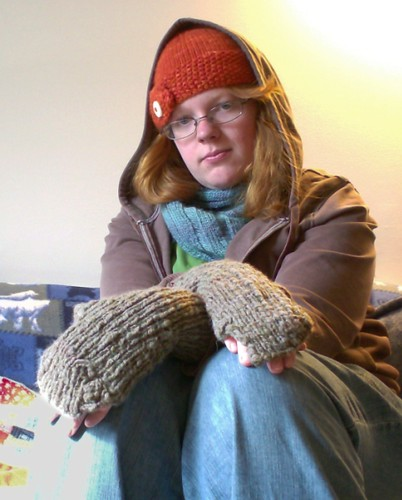 Lyra's Golden Compass Fingerless Mitts in Gray Handspun Yarn TGC Alethiometer